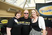 DJ Tony Fenton with Maria Cunningham from Clare and Siobhan Doyle Wexford at the Budweiser Ice Cold Summer BBQ, broadcast live on the Tony Fenton Show at The Galway Bay Hotel in Salthill. Photo:Andrew Downes.. .Both Duke Special and The Divine Comedy performed at the summer kick-off party and Today FM's Tony Fenton Show broadcast live from the hotel all afternoon...The 150 invited guests included Today FM listeners ad Budweiser Ice Cold Facebook fans from all over the country. Guests also won the chance to win a cool Grand in cash, meet Mr. Iceman and of course enjoy a pint of Budweiser Ice Cold, the coldest pint ever!..Enjoy Budweiser Ice Cold sensibly visit www.drinkaware.ie ..This event was strictly over 18's,..-ENDS-..FOR FURTHER INFORMATION PLEASE CONTACT:.Killian Burns / Aoiffe Madden..Killian.burns@ogilvy.com / aoiffe.madden@ogilvy.com.WHPR..Tel: 01 6690030.
