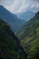 Narrow, closed balley near the Kinnaur region, in India's Lower Himalayas.