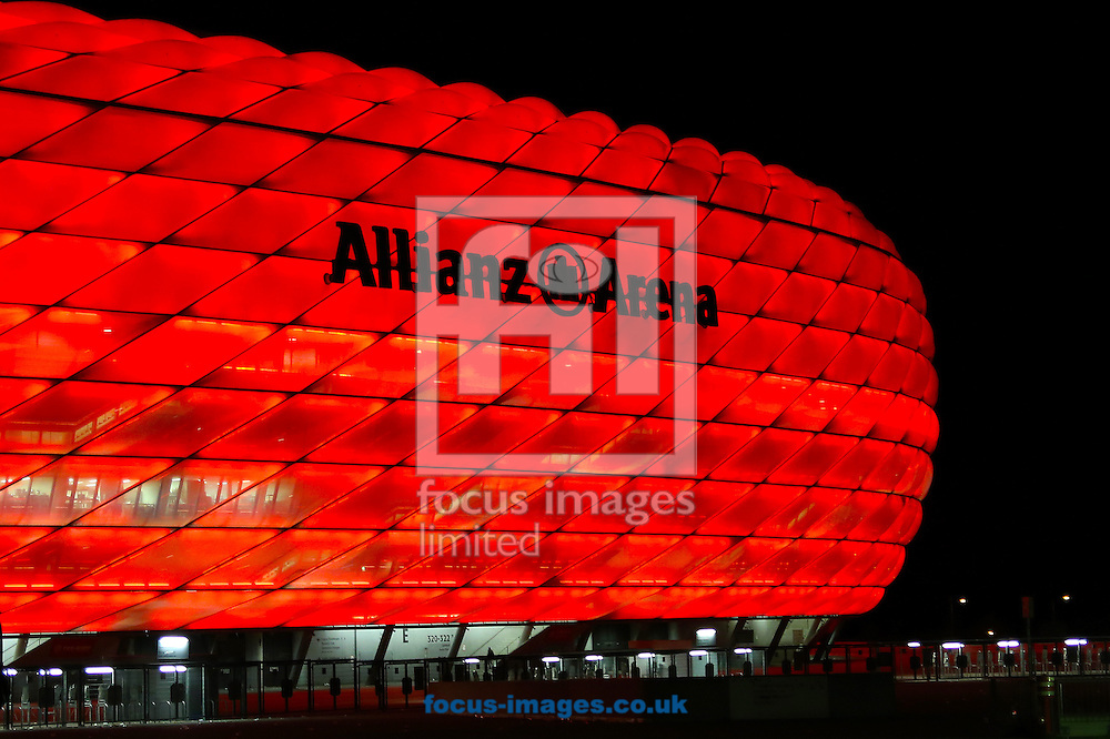 General view of the Allianz Arena at night, Munich, home to Bayern Munich after the UEFA Champions League Match against Manchester United.<br /> Picture by Richard Calver/Focus Images Ltd +447792 981244<br /> 09/04/2014