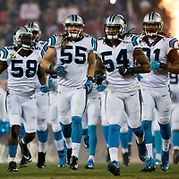 Carolina Panthers outside linebacker Thomas Davis (58), Carolina Panthers linebacker David Mayo (55), Carolina Panthers outside linebacker Shaq Green-Thompson (54), Carolina Panthers cornerback Charles Tillman (31)