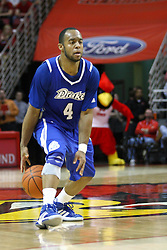 12 January 2013:  Chris Hines dribbles between his feet during an NCAA Missouri Valley Conference mens basketball game Where the Bulldogs of Drake University beat the Illinois State Redbirds 82-77 in Redbird Arena, Normal IL