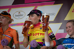 \lizbre celebrates winning the overall after Stage 6 of the Lotto Thuringen Ladies Tour - a 80.5 km road race, starting and finishing in Gotha on July 18, 2017, in Thuringen, Germany. (Photo by Balint Hamvas/Velofocus.com)