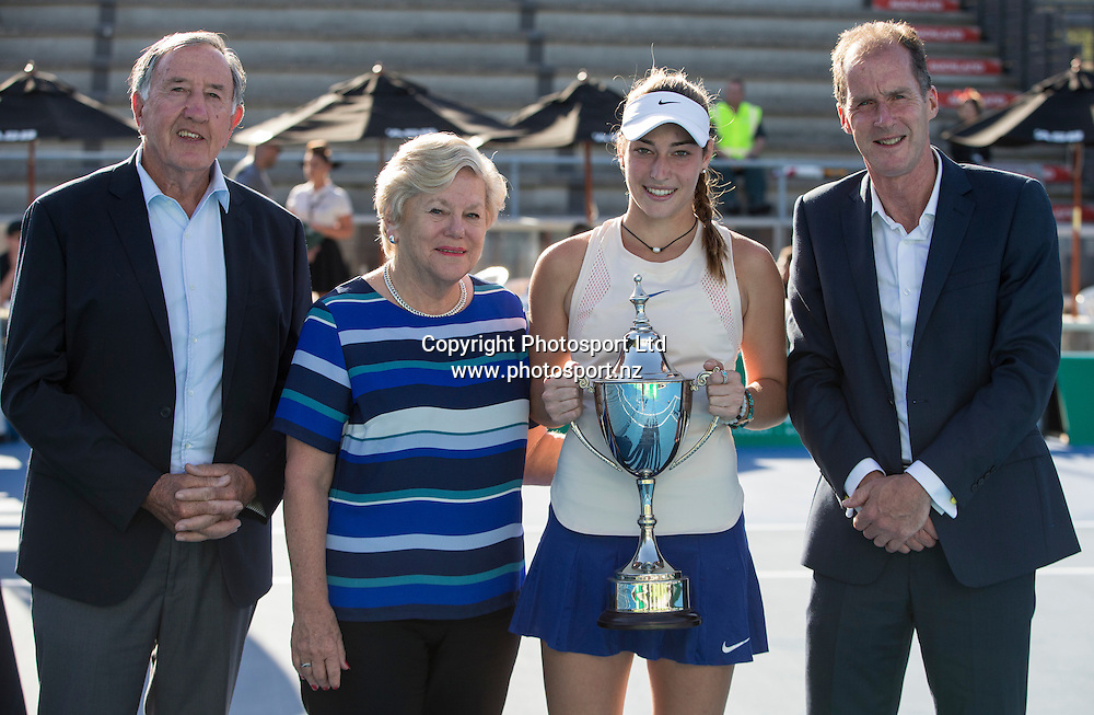From left: Roger Harvey (vice president Tennis NZ) Anne Norman (Pascoes) Jade Lewis and David Frank (tournament director)  at the presentation after winning the womens singles final in the Pacoes NZ Tennis Champs held at the ASB Tennis Arena in Auckland. <br /> Credit; Peter Meecham/ www.photosport.nz