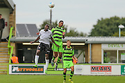 Bromley's Tobi Sho-Silva(20) and Forest Green Rovers Ethan Pinnock (16) challenge for the ball during the Vanarama National League match between Forest Green Rovers and Bromley FC at the New Lawn, Forest Green, United Kingdom on 17 September 2016. Photo by Shane Healey.