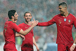 June 7, 2018 - Lisbon, Portugal - Portugal's forward Goncalo Guedes (L) celebrates with forward Cristiano Ronaldo (R ) and forward Bernardo Silva after scoring his second goal during the FIFA World Cup Russia 2018 preparation football match Portugal vs Algeria, at the Luz stadium in Lisbon, Portugal, on June 7, 2018. (Credit Image: © Pedro Fiuza via ZUMA Wire)