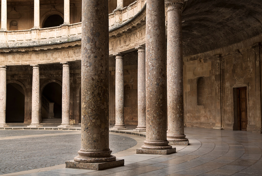 The inner courtyard of the Palacio de Carlos V, Alhambea, Granada