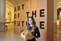 Pictured: Charly Miller, an S5 pupil from Drummond Community High School in Edinburgh with a golden bear head which forms part of the exhibition.<br /> <br /> 'The Art of the Future' was an ambitious project that asked young people across Scotland what they thought the art of the future was. The results are in a display opening at the Scottish National Gallery in Edinburgh this week.<br /> <br /> &copy; Dave Johnston / EEm