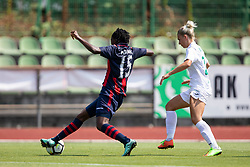 Faustina Ampah of FC Minsk and Mia Kalasic of ZNK Olimpija Ljubljana during football match between FC Minsk and ZNK Olimpija Ljubljana in 2nd Qualifying Group of UEFA Women's Champions League 2018/19, on August 7, 2018 in Stadion ZAK, Ljubljana, Slovenia. Photo by Urban Urbanc / Sportida