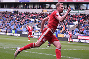Middlesbrough Forward,  Jordan Rhodes scores during the Sky Bet Championship match between Bolton Wanderers and Middlesbrough at the Macron Stadium, Bolton, England on 16 April 2016. Photo by Mark Pollitt.