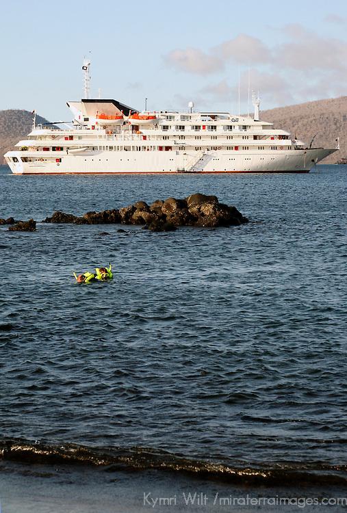 The MV Galapagos Explorer II offshore at Snatiago Island in the Galapagos. Ecuador, South America