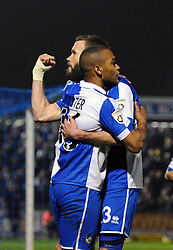 Bristol Rovers' Jerome Easter celebrates his goal with Bristol Rovers' Andy Monkhouse - Photo mandatory by-line: Dougie Allward/JMP - Mobile: 07966 386802 - 20/03/2015 - SPORT - Football - England - Memorial Stadium - Bristol Rovers v Aldershot - Vanarama Football Conference