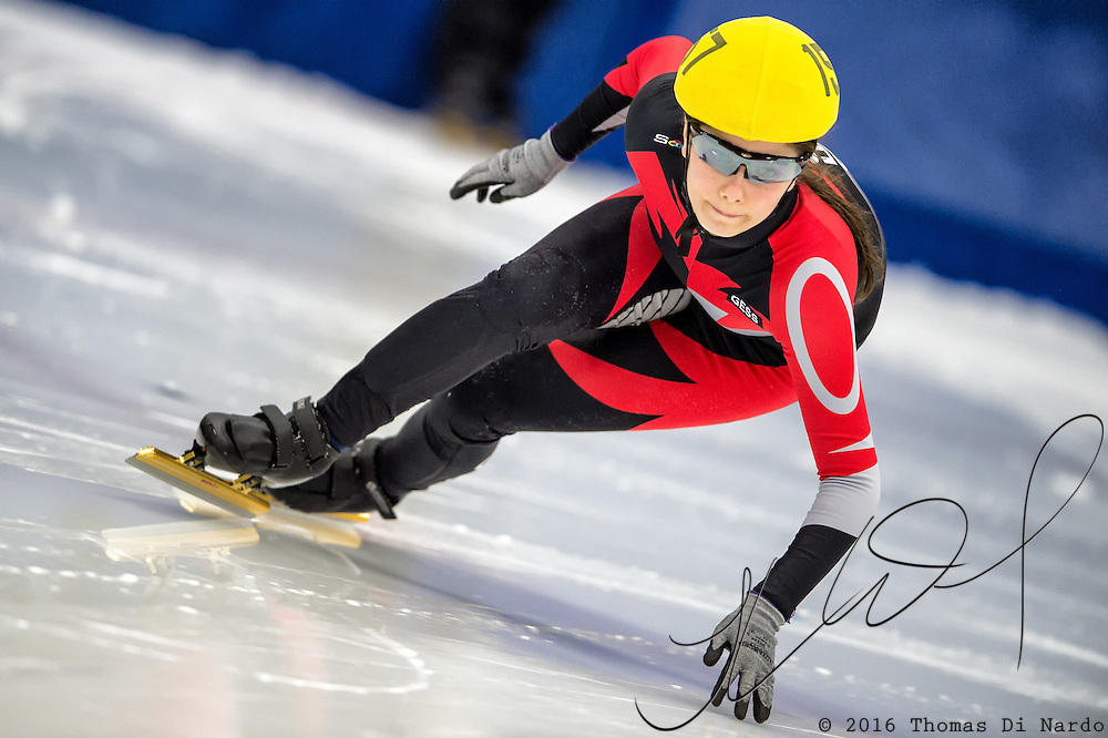 March 19, 2016 - Verona, WI - Isabella Main, skater number 157 competes in US Speedskating Short Track Age Group Nationals and AmCup Final held at the Verona Ice Arena.