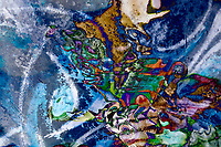 dominant blue object abstraction art: colorful mottled image with irregular shapes and forms