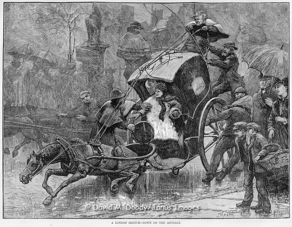 "Vintage Illustration: ""A London Sketch- Down on the Asphalt"" The dangers of slippery asphalt vs cobblestones result in a horse drawn carriage accident."