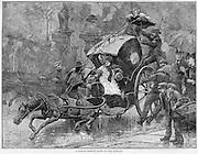 "Vintage Illustration: ""A London Sketch- Down on the Asphalt"" The dangers of slippery asphalt vs cobblestones result in a horse drawn carriage accident."