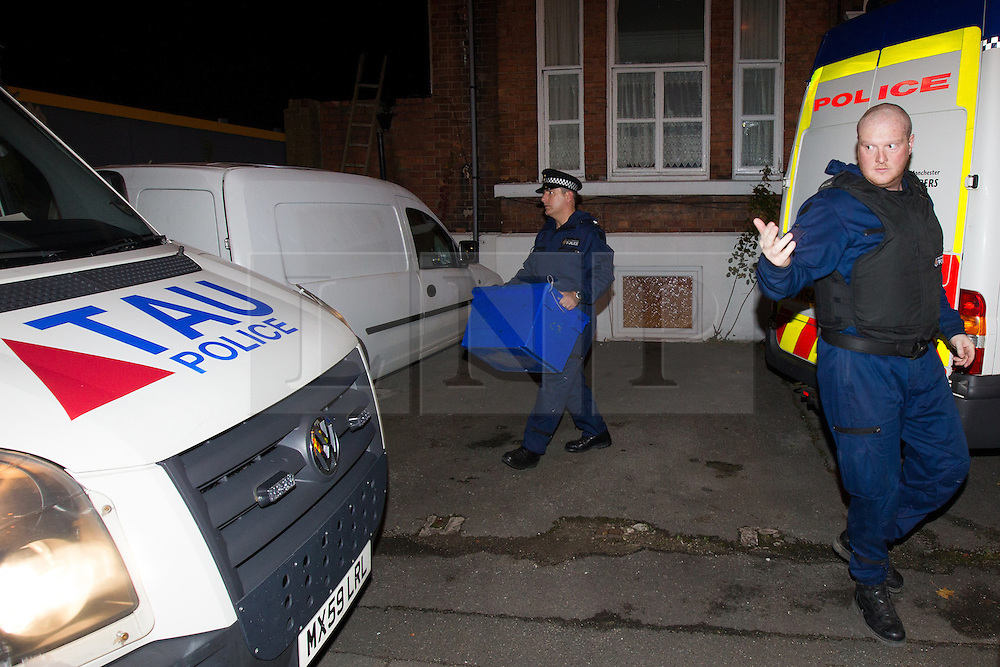 © Licensed to London News Pictures . 09/10/2012 . Altrincham , UK . General view GV of the house on 1 Woodlands Road , Altrincham , Cheshire . Police remove boxes and bags of property from a flat within the house . Police arrested Jimmy Savile's former chauffeur , Ray Teret , and housemate Alan Ledger , yesterday (8th November) over historic child rape allegations . Photo credit : Joel Goodman/LNP