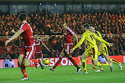 Middlesbrough midfielder Emilio Nsue with a rare showt in the first half during the Sky Bet Championship match between Middlesbrough and Burnley at the Riverside Stadium, Middlesbrough, England on 15 December 2015. Photo by Simon Davies.