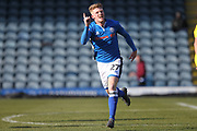 GOAL Andy Cannon celebrates scoring 1-1 during the EFL Sky Bet League 1 match between Rochdale and AFC Wimbledon at Spotland, Rochdale, England on 17 March 2018. Picture by Daniel Youngs.
