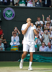 LONDON, ENGLAND - Wednesday, June 29, 2011: Jo-Wilfried Tsonga (FRA) celebrates after winning 3-6, 6-7, 6-4, 6-4, 6-4 the Gentlemen's Singles Quarter-Final match on day nine of the Wimbledon Lawn Tennis Championships at the All England Lawn Tennis and Croquet Club. (Pic by David Rawcliffe/Propaganda)