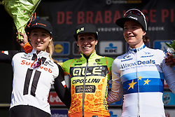 Top three: Marta Bastianelli (ITA), Leah Kirchmann (CAN) and Marianne Vos (NED) at Brabantse Pijl 2018, a 136.8 km road race starting and finishing in Gooik on April 11, 2018. Photo by Sean Robinson/Velofocus.com
