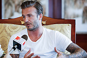 BEIJING, CHINA - JUNE 17: (CHINA OUT) <br /> <br /> David Beckham talks to the media after arriving at Beijing Capital International Airport on June 17, 2013 in Beijing, China.<br /> ©Exclusivepix
