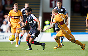 Dundee's Faissal El Bakhtaoui and Motherwell's Richard Tait - Motherwell v Dundee in the Ladbrokes Scottish Premiership at Fir Park, Motherwell. Photo: David Young<br /> <br />  - © David Young - www.davidyoungphoto.co.uk - email: davidyoungphoto@gmail.com