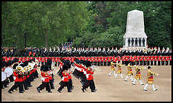 Members of the grenadier guards, scots guards, welsh guards, irish guards, coldstream guards take part in the Queen's Trooping of the Colour, The Queen's Birthday Parade, on Horse Guards Parade, Saturday June 16, 2012. Photo by Andrew Parsons/i-Images..All Rights Reserved ©Andrew Parsons/i-Images .See Special Instructions