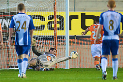 BLACKPOOL, ENGLAND - Wednesday, August 26, 2009: Wigan Athletic's goalkeeper Mike Pollitt saves the penalty from Blackpool's Charlie Adam only to see him score with the rebound during the League Cup 2nd Round match at Bloomfield Road. (Photo by David Rawcliffe/Propaganda)