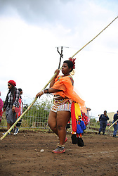 08092018 (Nongoma)  Cebolabo Zulu leading A traditionally clad Zulu maiden shouts as she takes part in the mini reed dance (uMkhosi woMhlanga) in the rural district of Emalangeni, some 80kms north of Durban on 08 September 2018<br /> Picture: Motshwari Mofokeng African News Agency (ANA)