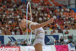 July 28, 2018 - Chieti, Abruzzo, Italy - Junior Rhythmic gymnast Viktoriia Onopriienko of Ukraine performs her hoop routine during the Rhythmic Gymnastics pre World Championship Italy-Ukraine-Germany at Palatricalle on 29th of July 2018 in Chieti Italy. (Credit Image: © Franco Romano/NurPhoto via ZUMA Press)