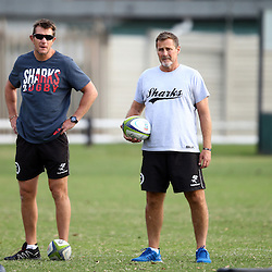 DURBAN, SOUTH AFRICA - MAY 03: Ryan Strudwick (Assistant Coach) of the Cell C Sharks with Robert du Preez (Assistant Coach) of the Cell C Sharks during the Cell C Sharks training session at Growthpoint Kings Park on May 03, 2016 in Durban, South Africa. (Photo by Steve Haag/Gallo Images)
