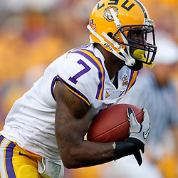 Sep 18, 2010; Baton Rouge, LA, USA;  LSU Tigers returner Patrick Peterson (7) runs back a kickoff during the first half against the Mississippi State Bulldogs at Tiger Stadium.  Mandatory Credit: Derick E. Hingle