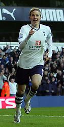 Roman Pavlyuchenko goal celebration. Tottenham Hotspur FC vs Blackburn Rovers FC Premier League 23/11/08.
