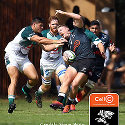 High tackle on Robert du Preez of the Cell C Sharks during The Cell C Sharks warm up match with the  Vodacom Bulls, at Ashton International College Albertina Way, Dolphin Coast  Ballito - Kwazulu- Natal, South Africa 9th February 2019 (Photo by Steve Haag)