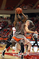 17 December 2014: Marshaun Newell works to get position for a shot against Justin McCloud during an NCAA Men's Basketball game between the Skyhawks of University of Tennessee - Martin and the Redbirds of Illinois State at Redbird Arena in Normal Illinois