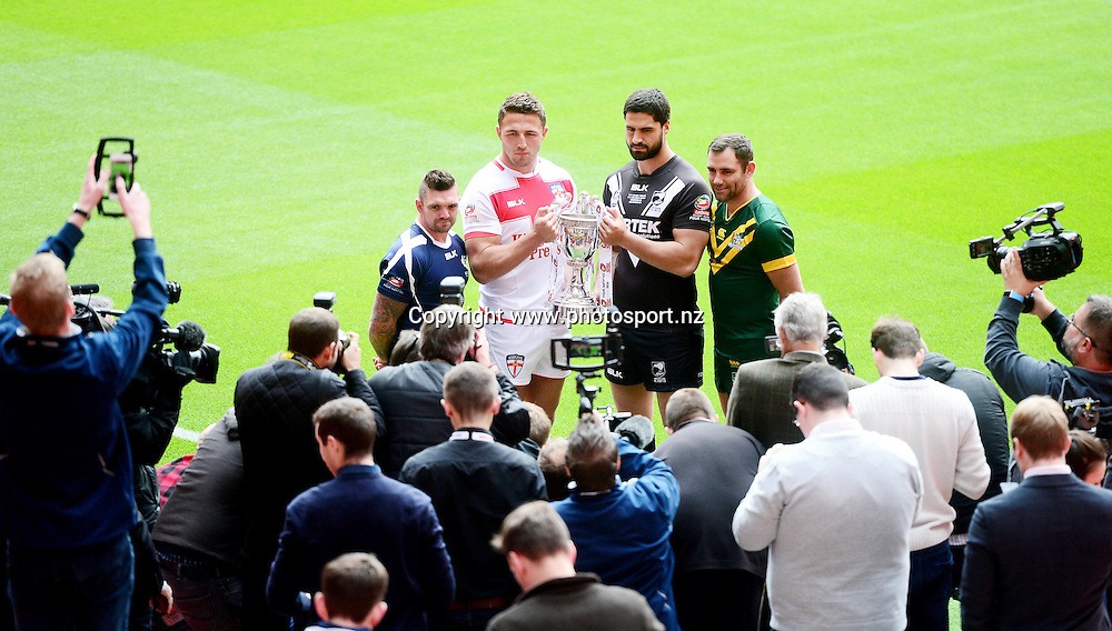 Rugby League - 2016 Ladbrokes Four Nations Launch - Anfield, Liverpool, England - (from left) Scotland captain Danny Brough, England captain Sam Burgess, New Zealand captain Jesse Bromwich and Australia captain Cameron Smith pictured with the Ladbrokes Four Nations trophy at the competition launch at Anfield., 24 October 2016, Picture by Alex Whitehead/SWpix / www.photosport.nz