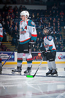 KELOWNA, CANADA - JANUARY 28: Lucas Johansen #7 of the Kelowna Rockets lines up with the pepsi player against the Portland Winterhawks on January 28, 2017 at Prospera Place in Kelowna, British Columbia, Canada.  (Photo by Marissa Baecker/Shoot the Breeze)  *** Local Caption ***