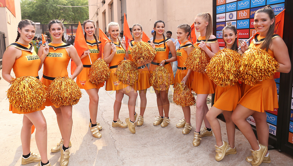 Sunrisers Hyderabad cheerleaders during match 6 of the Vivo 2017 Indian Premier League between the Sunrisers Hyderabad and the Gujarat Lions held at the Rajiv Gandhi International Cricket Stadium in Hyderabad, India on the 9th April 2017<br /> <br /> Photo by Faheem Hussain - IPL - Sportzpics