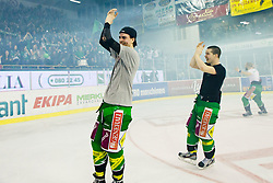 Miha Verlic (HDD Tilia Olimpija, #91) and Ken Ograjensek (HDD Tilia Olimpija, #18) celebrate during ice-hockey match between HDD Tilia Olimpija and SAPA Fehervar AV19 at sixth match in Quarterfinal  of EBEL league, on March 1, 2012 at Hala Tivoli, Ljubljana, Slovenia. HDD Tilia Olimpija won 4:3 and advanced to semifinal. (Photo By Matic Klansek Velej / Sportida)