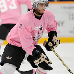 TRENTON, ON - Feb 14 : Ontario Junior Hockey League game action between the Trenton Golden Hawks and the Wellington Dukes, Shaquille Hickey #51 of the Trenton Golden Hawks Hockey Club during the pre-game warm-up<br /> (Photo by Amy Deroche / OJHL Images)