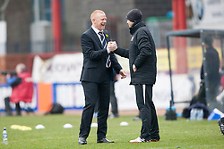 Falkirk's manager Gary Holt cele Mark Beck scoring their goal.<br /> half time : Dundee 0 v 1 Falkirk, Scottish Championship game played today at Dundee's Dens Park.<br /> &copy; Michael Schofield.