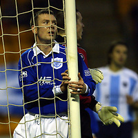 St Johnstone v Dundee   08.12.01<br />Craig Russell after a missed opportunity<br /><br />Pic by Graeme Hart<br />Copyright Perthshire Picture Agency<br />Tel: 01738 623350 / 07990 594431