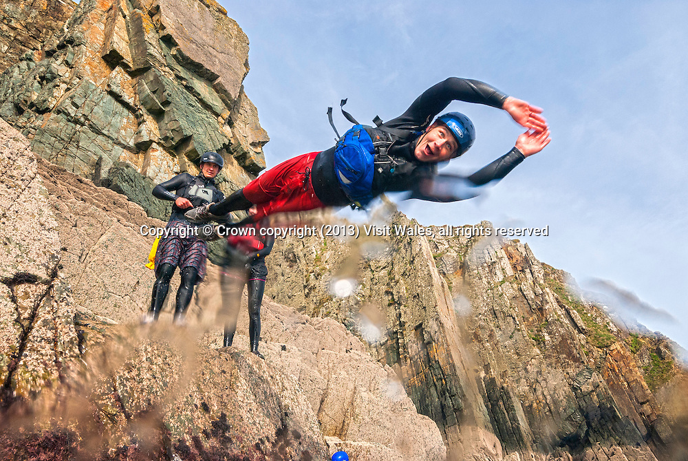 Coasteering<br /> Near St David's<br /> South<br /> Coasteering<br /> Activities and Sports