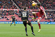 Middlesbrough FC striker David Nugent (35) wins the high ball from Nottingham Forest midfielder Gary Gardner (22) during the Sky Bet Championship match between Middlesbrough and Nottingham Forest at the Riverside Stadium, Middlesbrough, England on 23 January 2016. Photo by George Ledger.