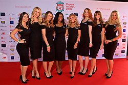LIVERPOOL, ENGLAND - Thursday, May 10, 2018: Carlsberg promotional girls on the red carpet for the Liverpool FC Players' Awards 2018 at Anfield. (Pic by David Rawcliffe/Propaganda)