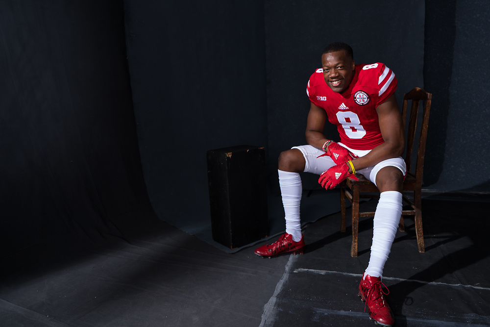 Chris Jones #8 during a portrait session at Memorial Stadium in Lincoln, Neb. on June 6, 2017. Photo by Paul Bellinger, Hail Varsity