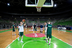 Players during practice session of Slovenian National Basketball team before qualification matches for FIBA Basketball World Cup 2019, on February 20, 2017 in Arena Stozice, Ljubljana, Slovenia. Photo by Urban Urbanc / Sportida