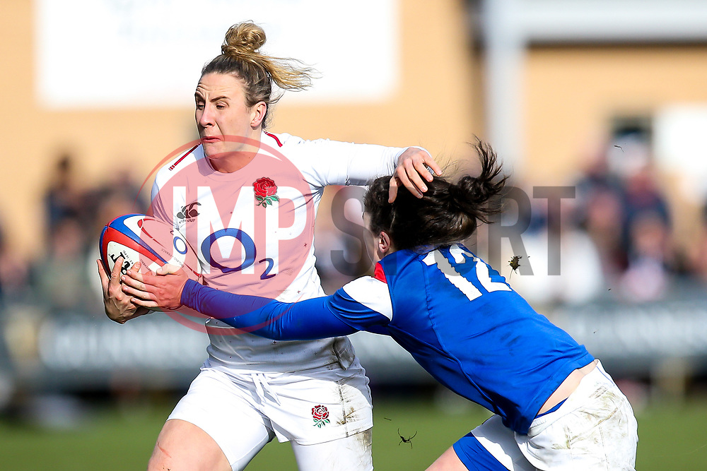 Sarah McKenna of England Women is tackled by Gabrielle Vernier of France Women - Mandatory by-line: Robbie Stephenson/JMP - 10/02/2019 - RUGBY - Castle Park - Doncaster, England - England Women v France Women - Women's Six Nations