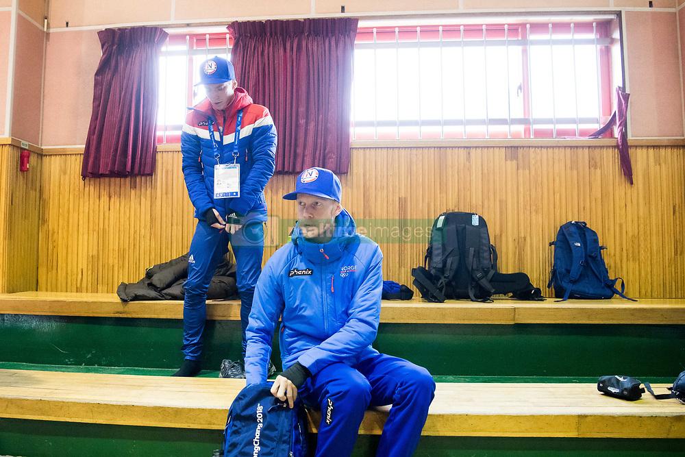 February 9, 2018 - Pyeongchang, SOUTH KOREA - 180209 Anders Fannemel and Robert Johansson of Norway during a press event with the Norwegian men's ski jumping team during the 2018 Winter Olympics on February 9, 2018 in Pyeongchang..Photo: Jon Olav Nesvold / BILDBYRN / kod JE / 160148 (Credit Image: © Jon Olav Nesvold/Bildbyran via ZUMA Press)