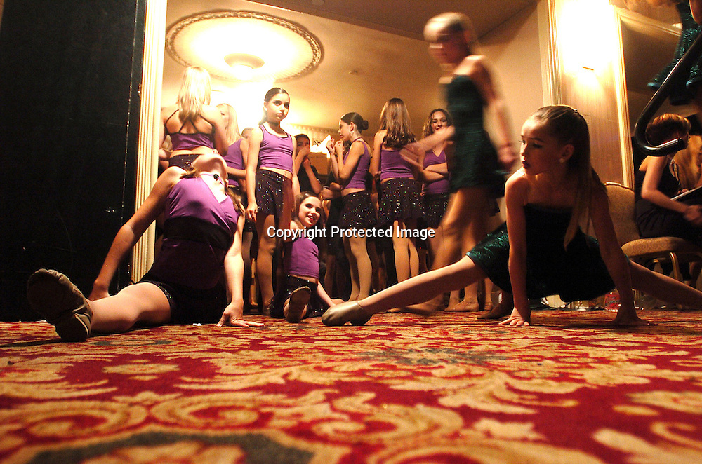 Dancers wait to perform at the New York Dance Alliance's national competition finale July 10, 2005 in New York City.<br />